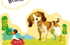 Cute Cartoon Beagle Illustration Vector