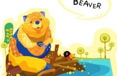 Cute Cartoon Beaver Illustration Vector