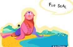 Cute Cartoon Fur Seal Illustration Vector
