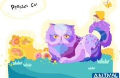 Cute Cartoon Persian Cat Illustration Vector