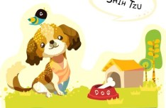 Cute Cartoon Shih Tzu Illustration Vector
