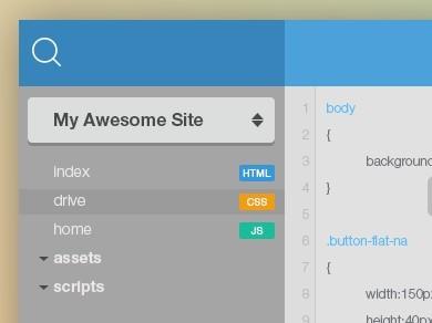 Flat Code Editor GUI PSD