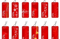 Set Of Red Price & Discount Tags with Floral Backgrounds Vector