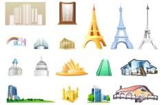 Set Of Vector World Landmark Icons