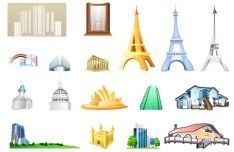 Set Of Vector World Landmark Icons