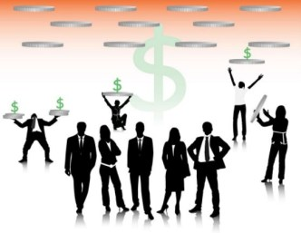 Business Men Silhouettes With World Map Background 03