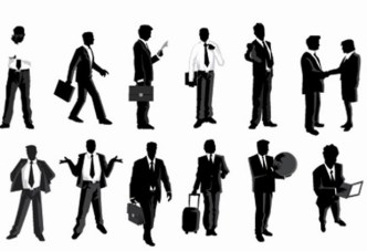Business Men Silhouettes With World Map Background 05