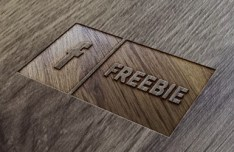 PSD Wood Logo Mockup Template