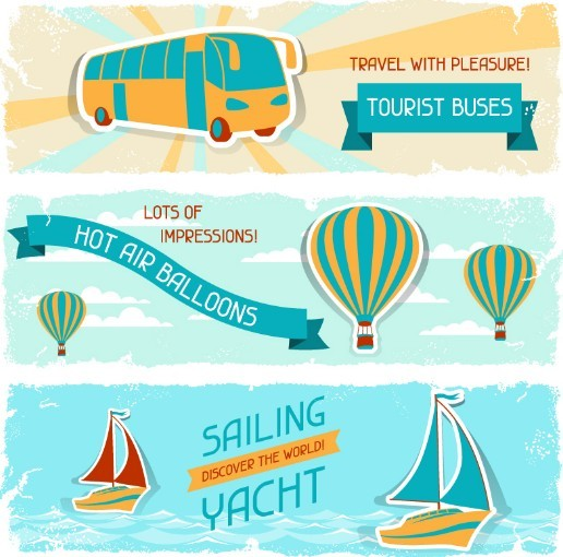 Retro Summer Holiday Vacation Banners Vector