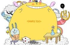 Vector Hand Drawn Cartoon Rabbit Family