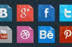 Paper Like Flat Social Media Icons PSD