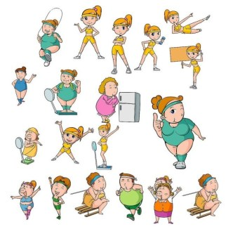 Vector Illustrations Of Weight Loss Exercise For Girls