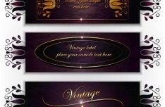 Gorgeous Deep Purple Floral Banners Vector