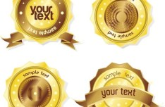 High Quality Golden Badges with Labels Vector