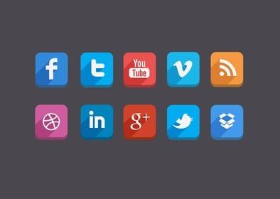 3D Feel Flat Social Media Icons PSD