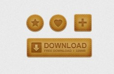 Brown Leather Buttons PSD