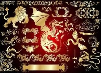 Set Of Vector Golden Royal Heraldic Design Elements 01