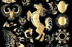 Set Of Vector Golden Royal Heraldic Design Elements 02