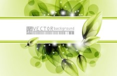 Clean Green Flower & Leaf Background Vector 02