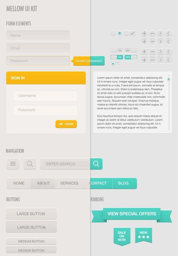 Mellow Web UI Kit PSD
