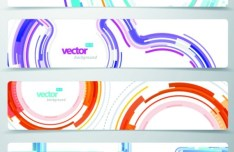 Set Of Vector Technology Banners with Abstract Lines Backgrounds