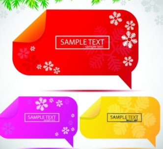 Lovely Christmas Speech Bubbles with Snowflake Backgrounds 02