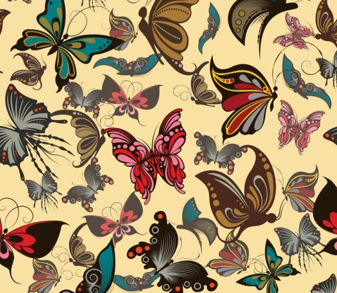 Vintage Butterfly Patterns Vector