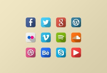 12 Mini Flat Social Icons PSD