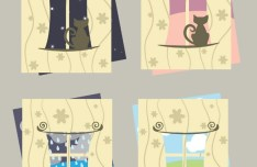 4 Clean Vertical Cards with Window and Cat Backgrounds Vector