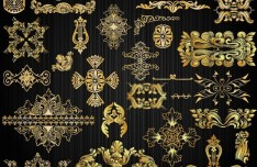 Gorgeous Golden Vintage Floral Ornaments