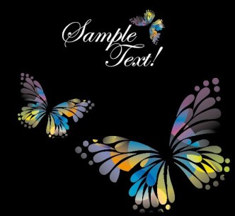 Classical Colored Butterflies and Flowers Vector 05