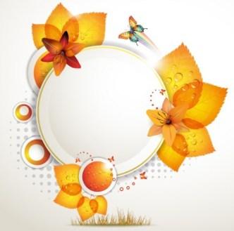 Orange Leaf and Butterfly Vector Frame 01