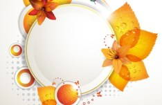 Orange Leaf and Butterfly Vector Frame 01