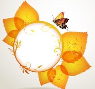 Orange Leaf and Butterfly Vector Frame 03