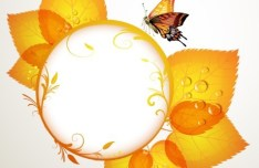 Orange Leaf and Butterfly Vector Frame 03