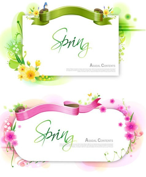 Set Of Clean Spring Vector Frames with Ribbon and Floral Ornaments 01