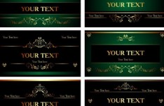 Set Of Vector Green Cards with Golden Floral Ornaments