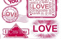 Pink I Love You Seals Vector