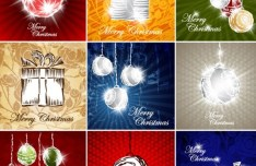 Set Of Vector Hand Drawn Merry Christmas Card Designs