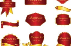Set Of Vector Red Labels with Golden Ribbons