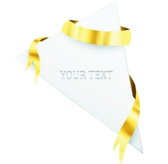 Creative Blank Card with Glossy Yellow Ribbon Vector 02