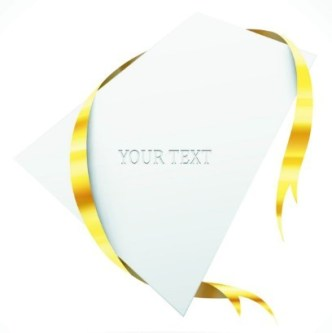 Creative Blank Card with Glossy Yellow Ribbon Vector 04