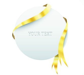 Creative Blank Card with Glossy Yellow Ribbon Vector 05