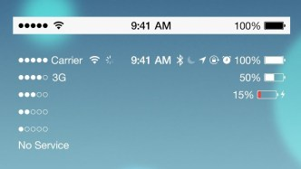 Flat iOS 7 Status Bar PSD