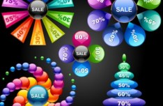 Set Of Colorful Abstract Sales Promotion Circle Icons Vector 02