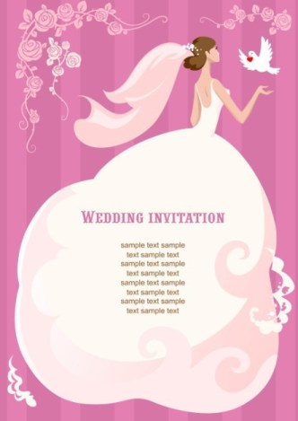 Clean Floral Bride Illustration For Wedding Invitation Vector 01