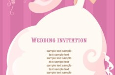 Clean Floral Bride Illustration For Wedding Invitation Vector 01