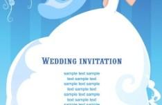Clean Floral Bride Illustration For Wedding Invitation Vector 02