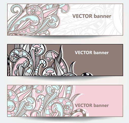 Set Of Vector Vintage Banners with Floral Pattern Backgrounds 03