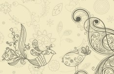 Vintage Hand Drawn Bird and Floral Illustration Vector 02